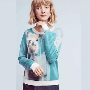 Anthropologie Lama Animal Farm Sweater